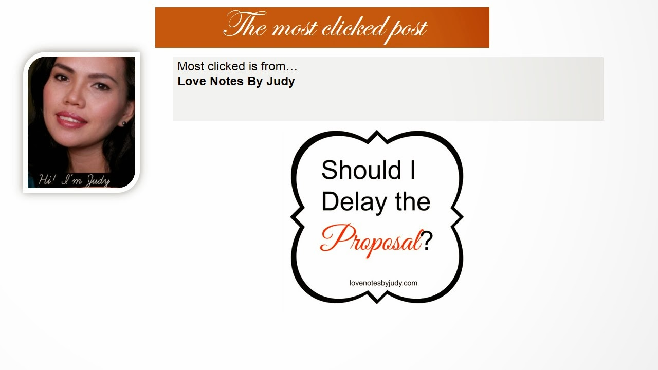 Most Clicked Post from Pin It Monday Hop. Should I delay the Proposal by Love Notes By Judy