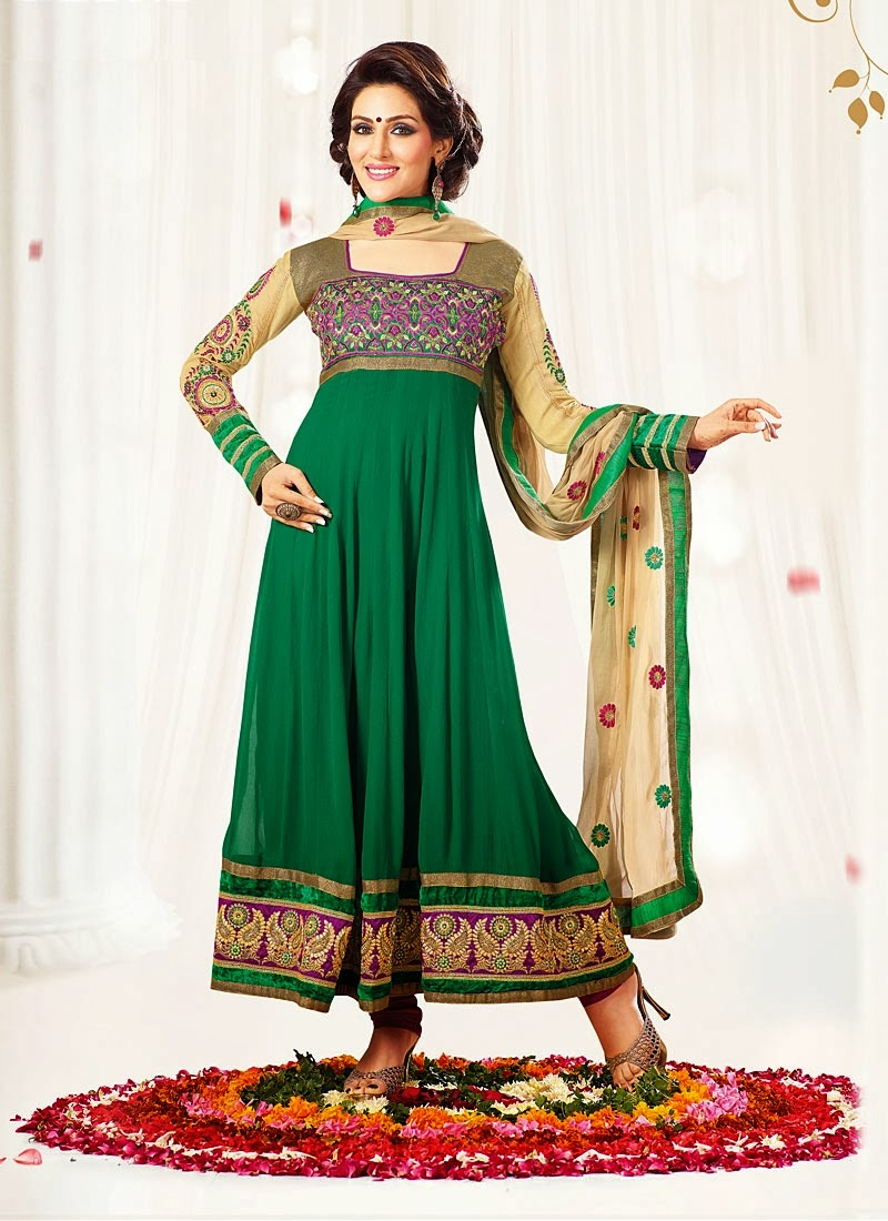 Latest anarkali designs with churidar pajama 2014 latest for Designs com