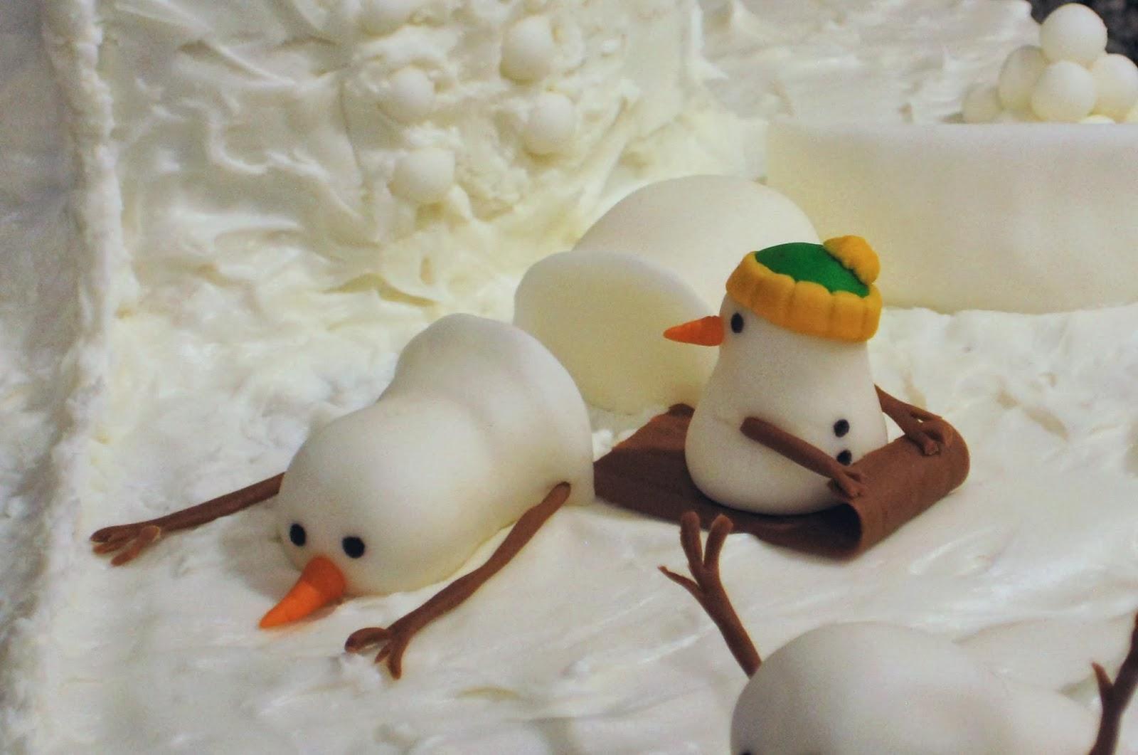Calvin and Hobbes Snowmen Cake - Fondant Little Snowman Sledding Sledding Through Snowman