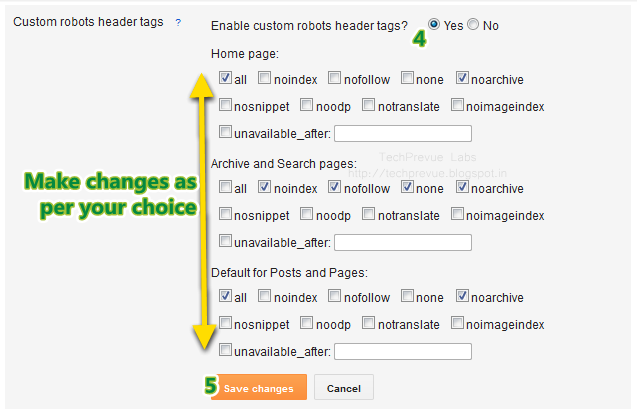 Custom Robots Header Tags Management in Blogger