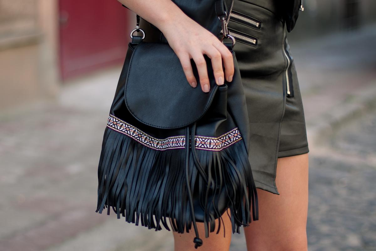 black fringe backpack Chicwish