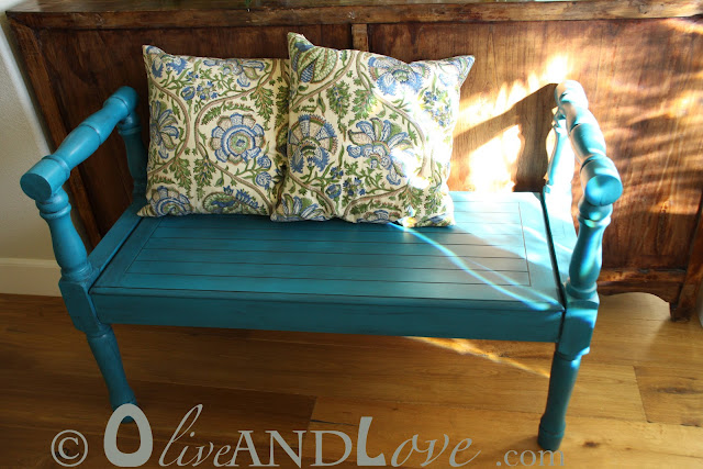 turquoise bench with shutter wall