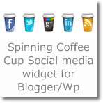 Spinning Coffee Cup Social media widget for Blogger/wordpress