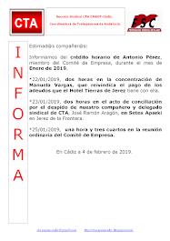 C.T.A. INFORMA CRÉDITO HORARIO ANTONIO PÉREZ, ENERO 2019