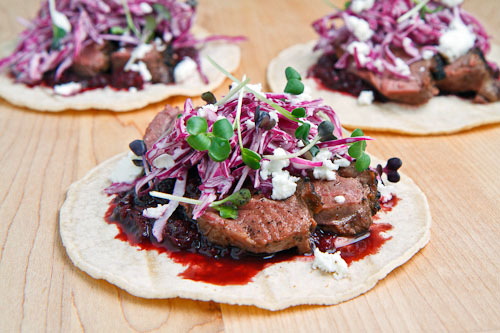 Duck Tacos with Chipotle Cherry Salsa and Goat Cheese on Closet ...
