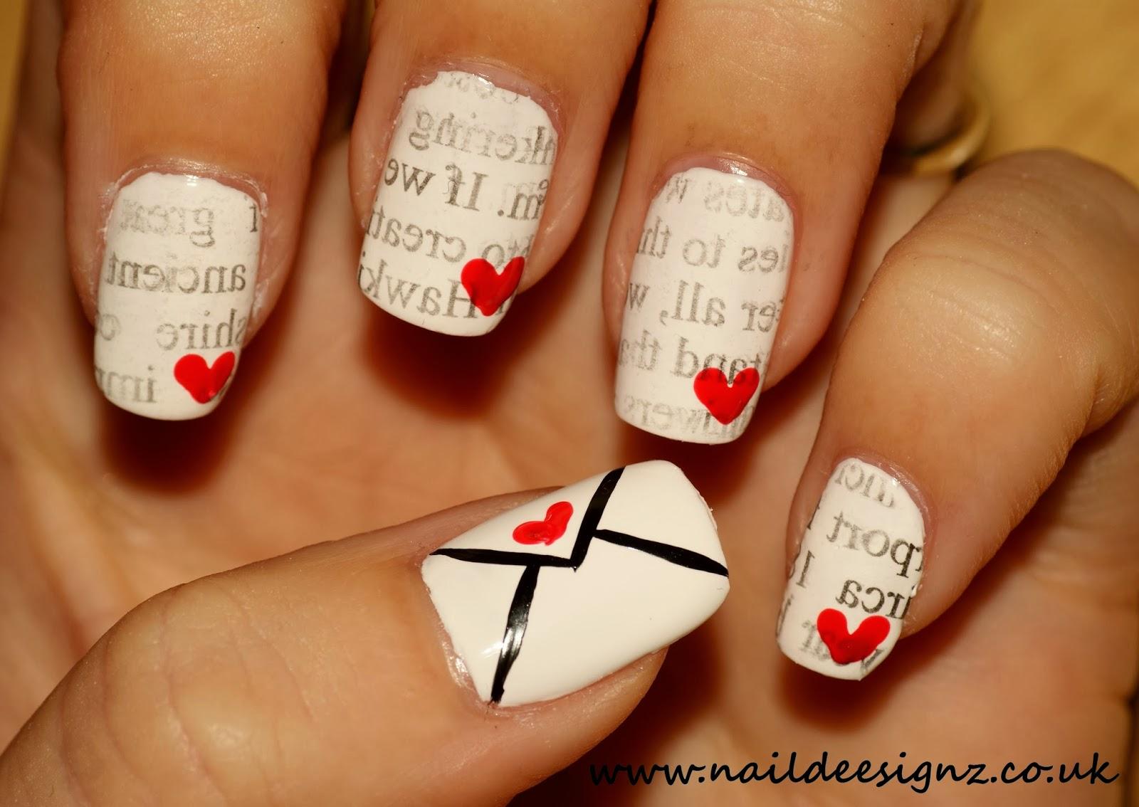 naildeesignz love letter nail art