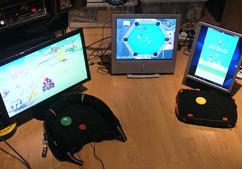 Two-switch Wii Mario Kart, Motion Pool and One-switch Flappy Birds emulated.