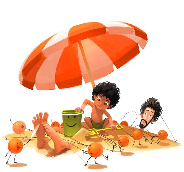 Naranjas y zapatos ilustraciones familiar