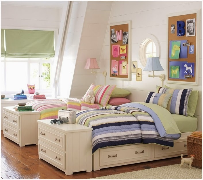 shared kids bedroom storage and organisation ideas