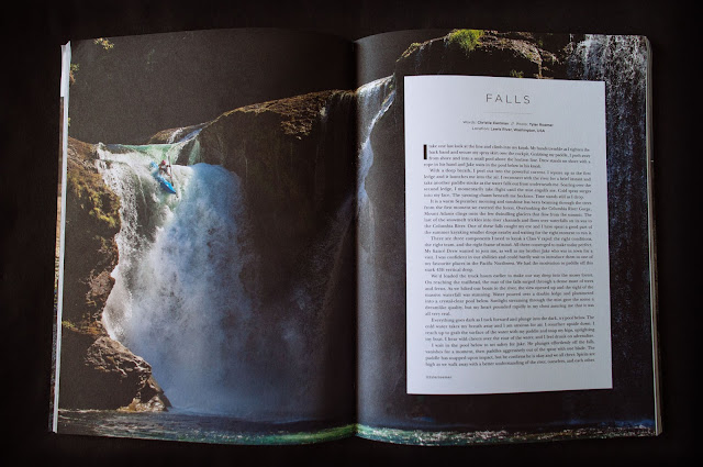 Christie Eastman kayaker and badass on Lower Lewis Falls in Washington.