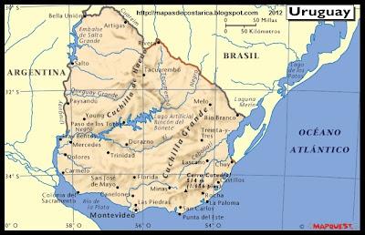 Mapa Fisico de URUGUAY, Atlas