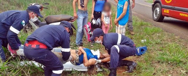 Roncador: Mulher fica ferida ao sofrer queda de motocicleta