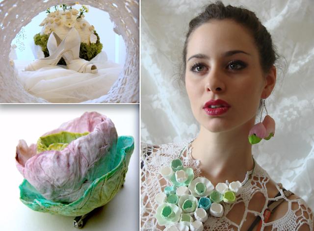 Gioielli di carta : spilla,  collana e orecchini di fiori di carta .