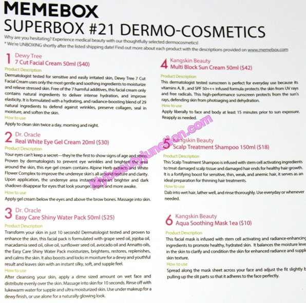 Dermo Cosmetics Memebox review, unboxing: Korean skincare box