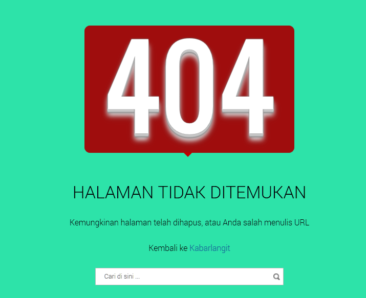 Cara Membuat Halaman Error 404 Not Found