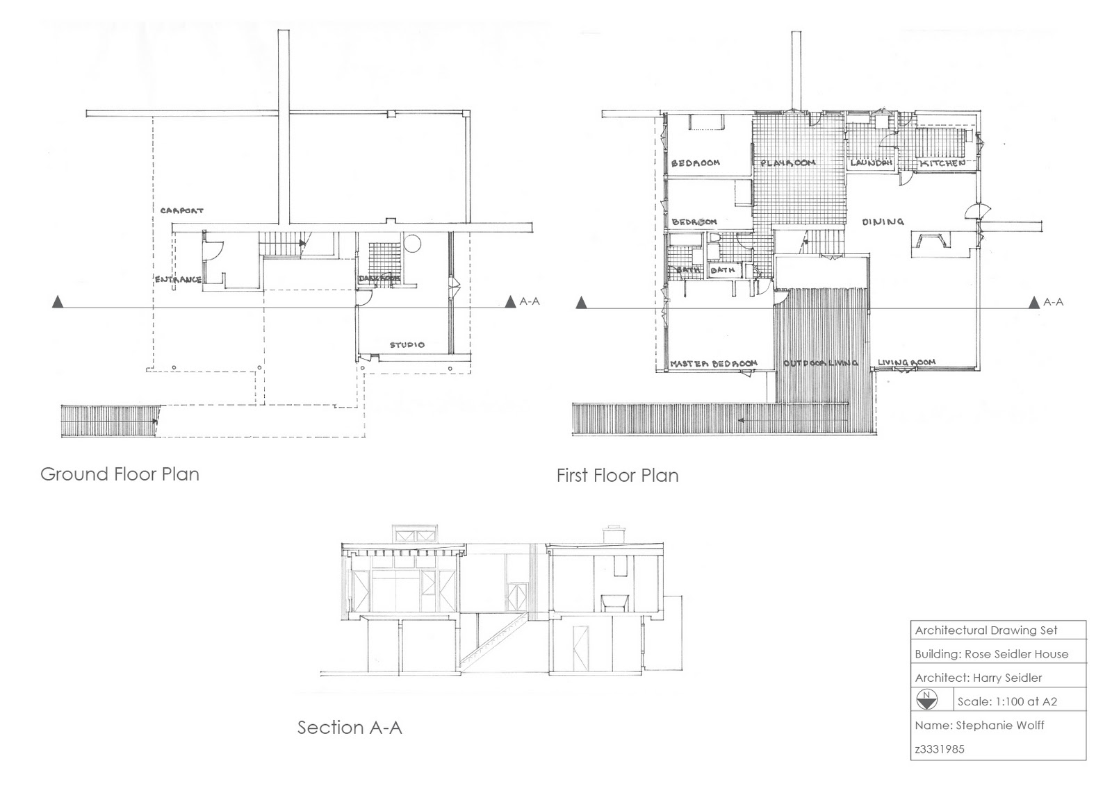 Draw it  Workshop   Stephanie Wolff   Architectural Design StudioFinal floor plans and section