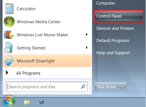 Windows Start / Control Panel