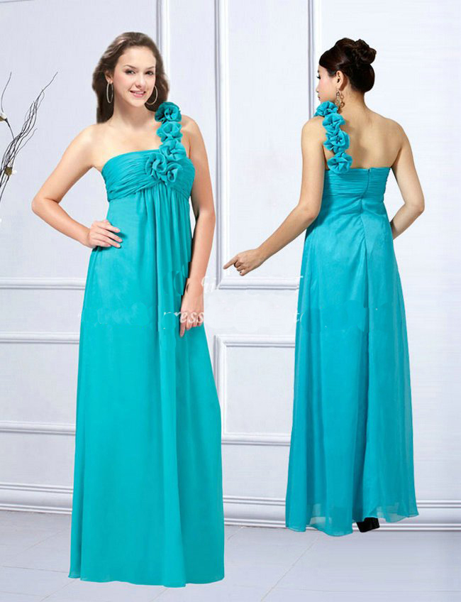 One -shoulder blue maternity bridesmaid dresses