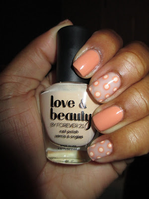 Nude, Polka Dot, Love & Beauty Ginger, subdued, nail art, nail design, mani