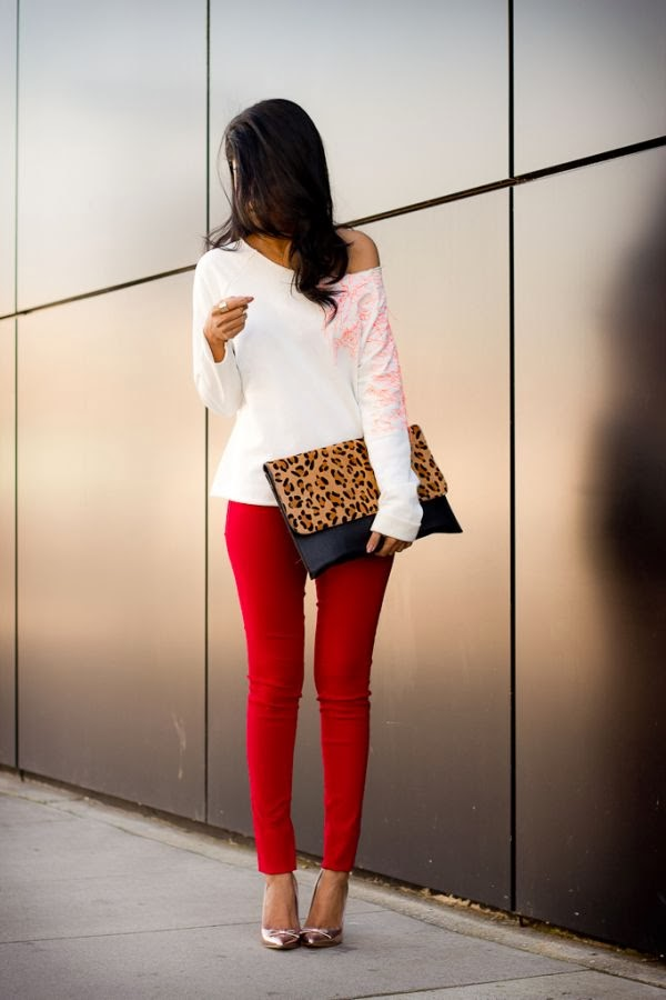 Amazing Red Tights with Handbag and White Blouse
