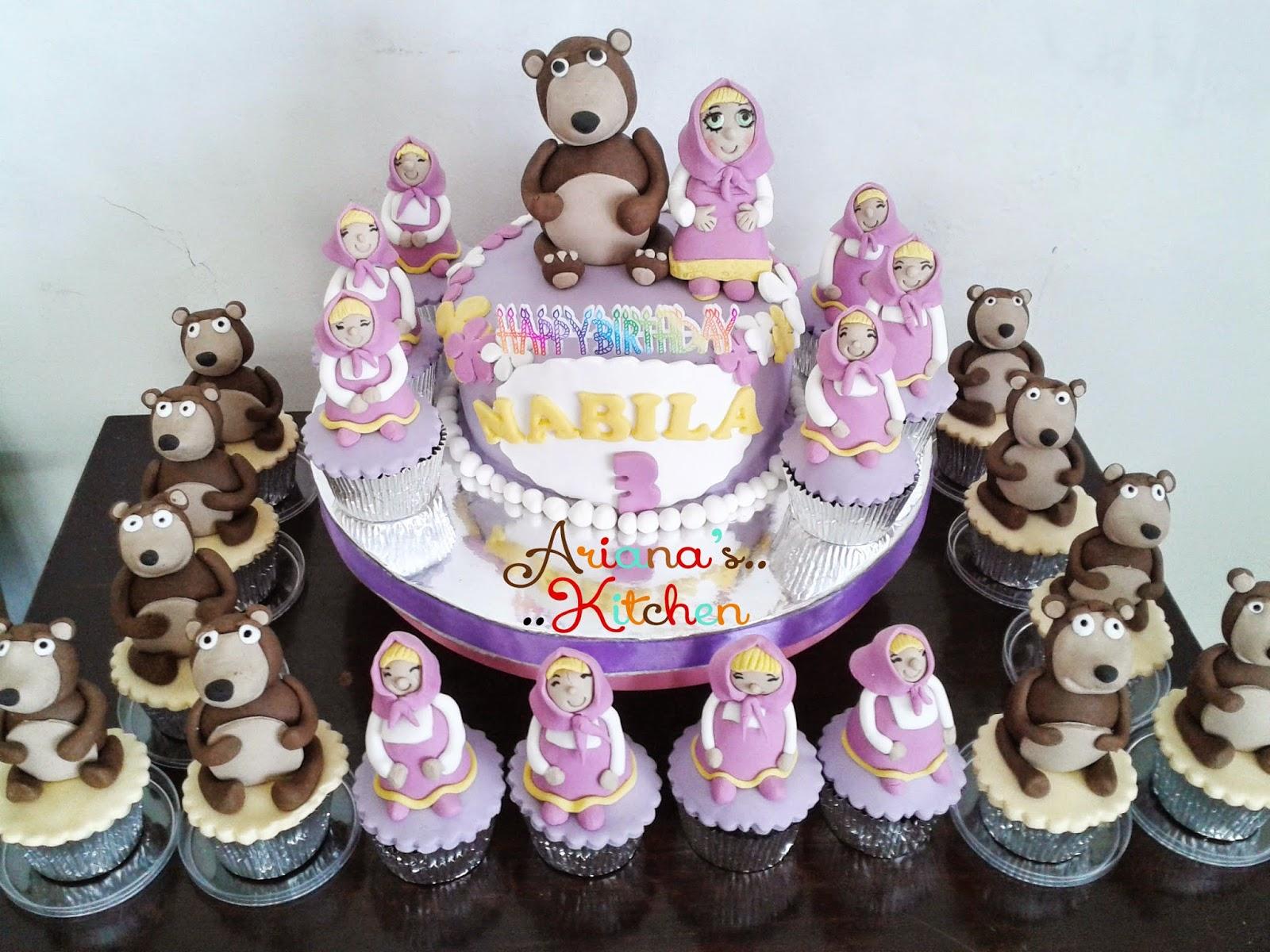 Arianas Kitchen Masha And The Bear Cake And Cupcakes