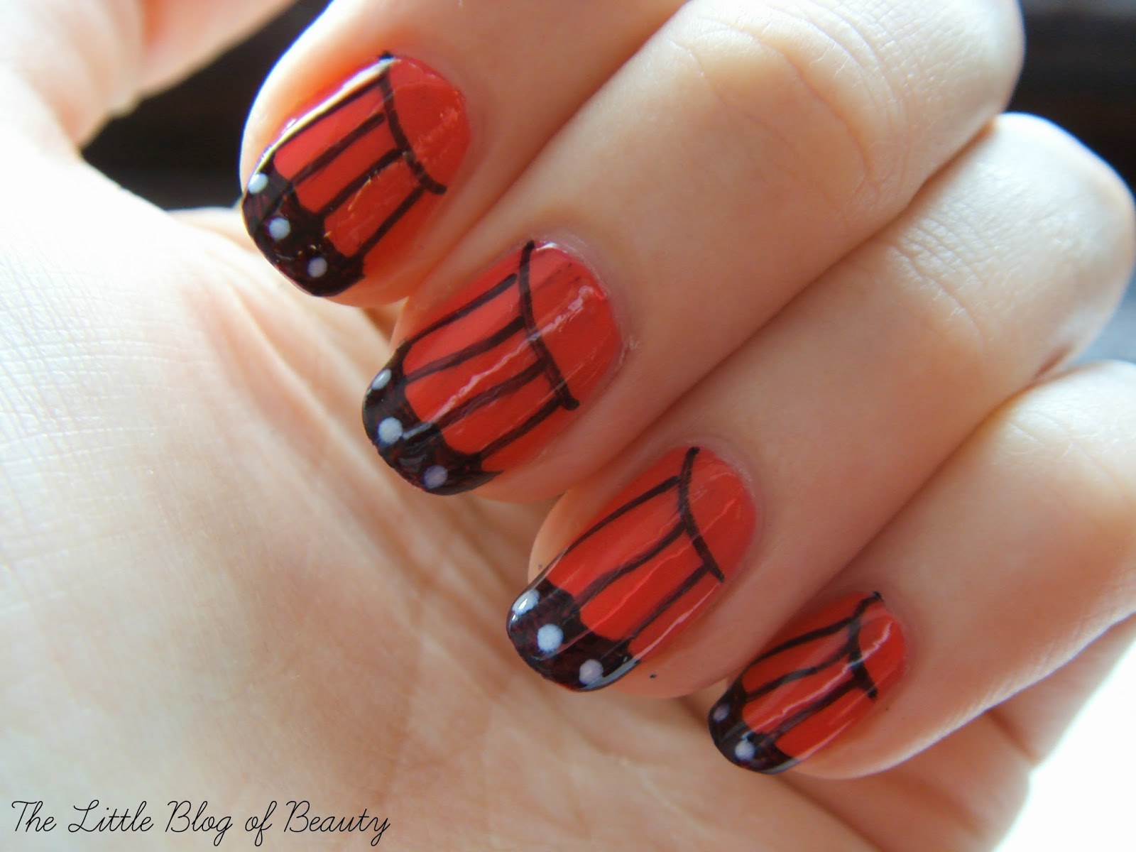 Nail art butterfly wings the little blog of beauty for madinsons look she used an amazing gradient base colour and a nail art brush to create the black lines i already had revlons parfumerie ginger melon prinsesfo Choice Image