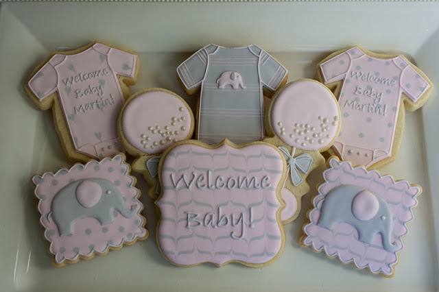 pink and gray baby girl cookies