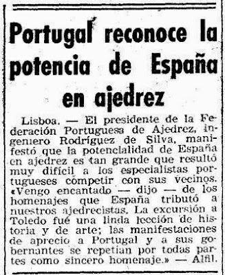 Recorte de Mundo Deportivo sobre el II Encuentro Ibérico de Ajedrez 1946