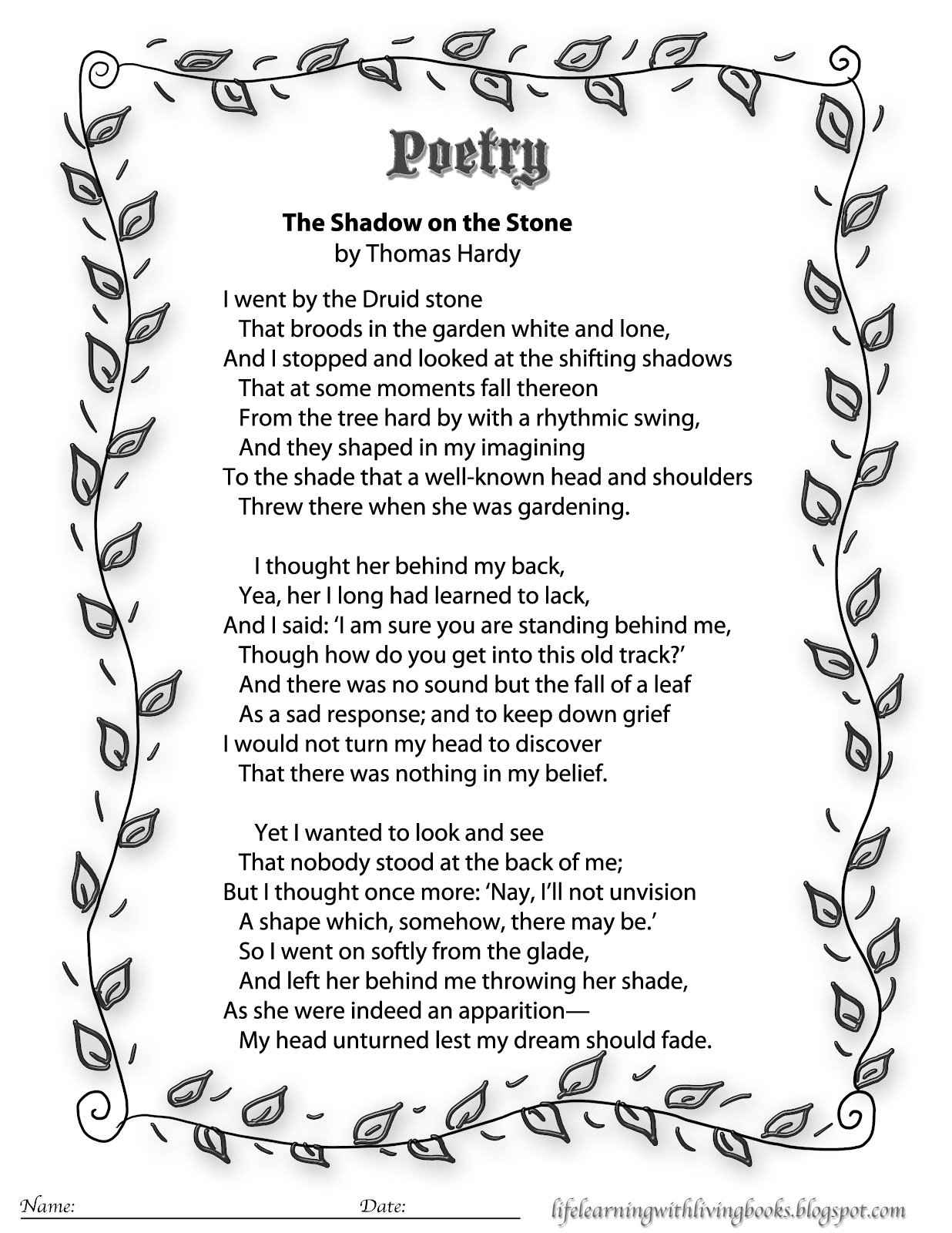 Magic image for printable poems