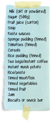 Trussel Trust food bank shopping list
