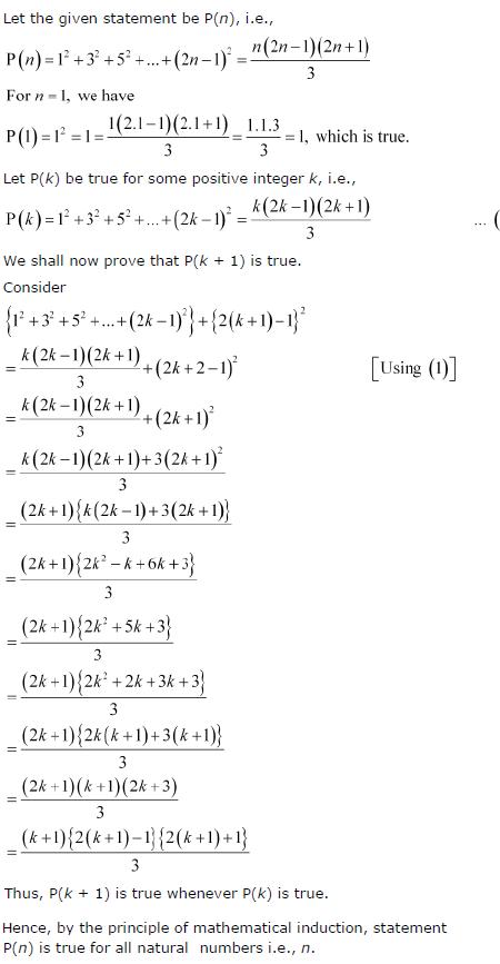 12 + 32 + 52 + …+ (2n-1)2 = n (2 n − 1) (2 n + 1)/3