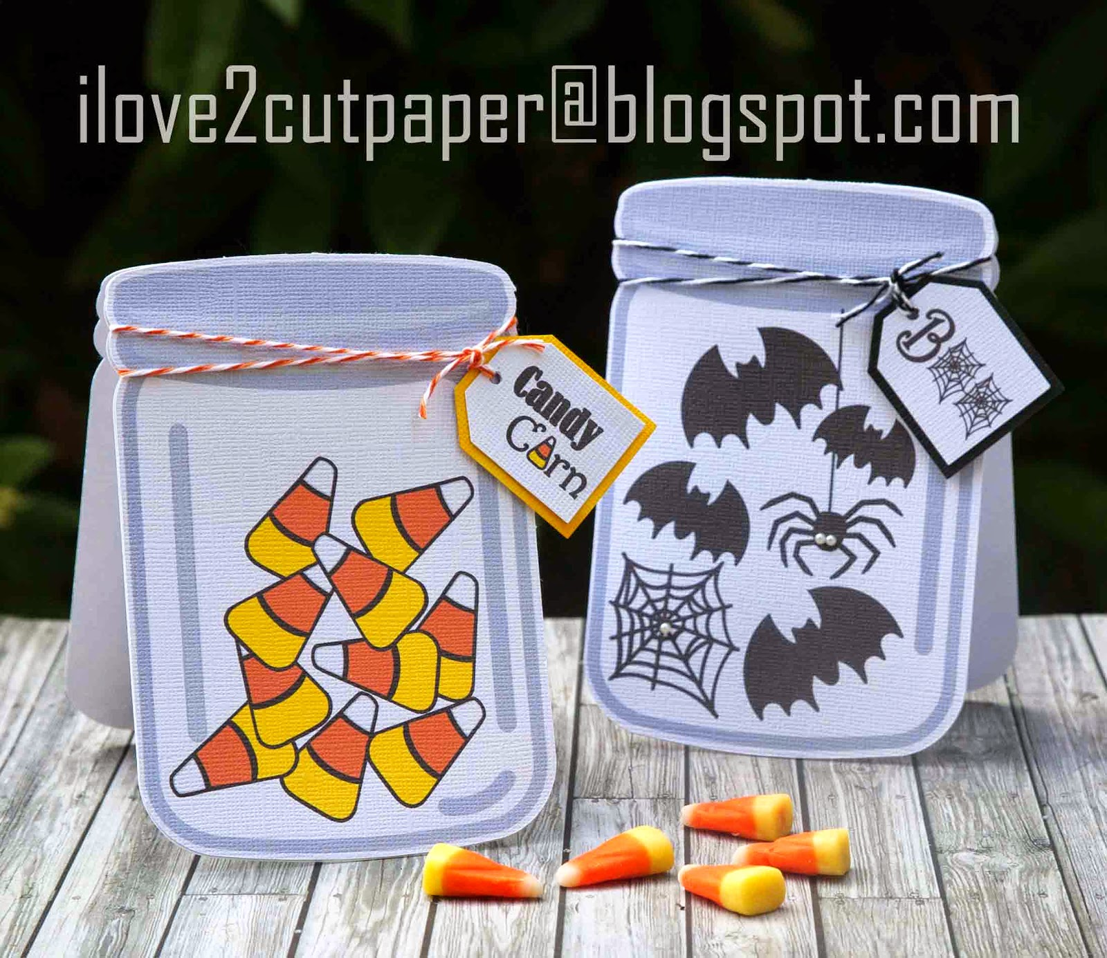 Candy Corn Mason Jar shaped card.