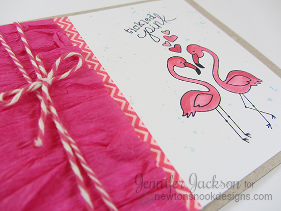 Tickled pink Flamingo card with Streamers by Jennifer Jackson |  Flirty Flamingos stamp set  | Newton's Nook Designs