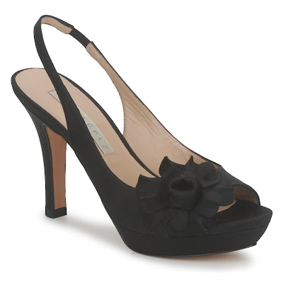 Flower detail slingback black high heel shoes