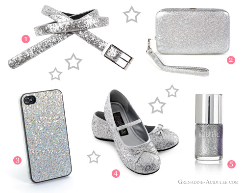 argent et paillettes - ceinture, pochette, coque iphone, ballerines chaussures et vernis à ongles