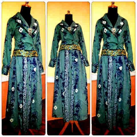 Model Gaun Sasirangan Hijau Tua