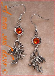 Boucles d'Oreilles dragon médiéval fantasy game of thrones bijou le trône de fer dragon earrings
