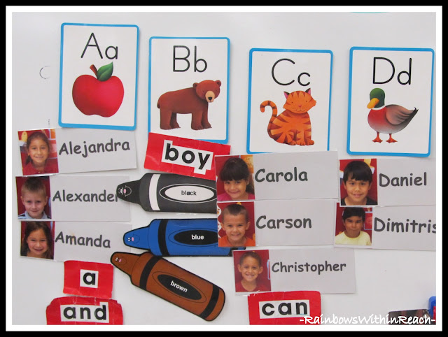 photo of: Word Wall in Kindergarten Featuring Children's Names with Photo (from RainbowsWithinReach Round Up) 