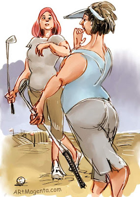 Golf is a social game. A cartoon by Artmagenta.