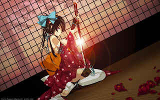 Katana Kimono Girl Female Anime HD Wallpaper Desktop PC Background 2012