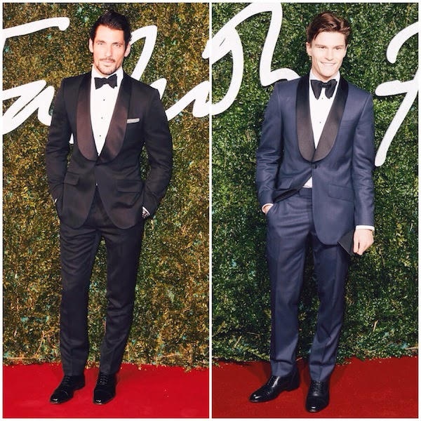 David Gandy and Oliver Cheshire wears Marks and Spencer tuxedo to British Fashion Awards - London 1st December 2014