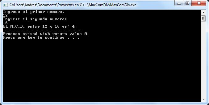 Salida en Pantalla - Como Hallar el Máximo Común Divisor en C++