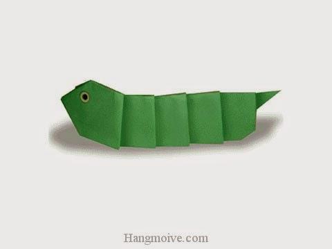 Cách gấp, xếp con sâu bắp cải bằng giấy origami - Video hướng dẫn xếp hình côn trùng - How to fold a Cabbage Worm