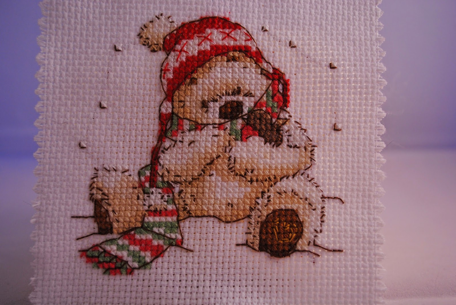 Mini Cross Stitch Ornament. Small Lickle Ted Cross Stitch Finish