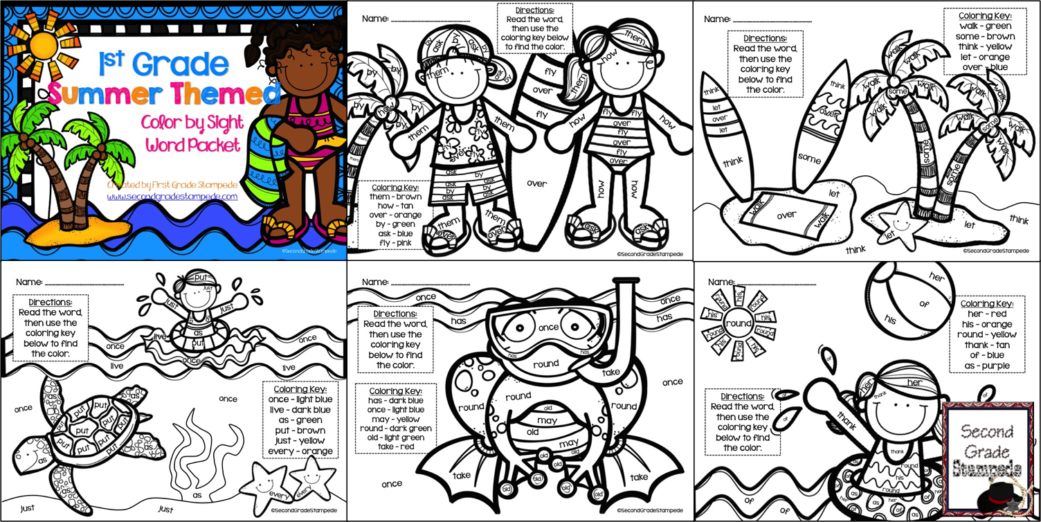 Summer Coloring Sheets First Grade Coloring Pages