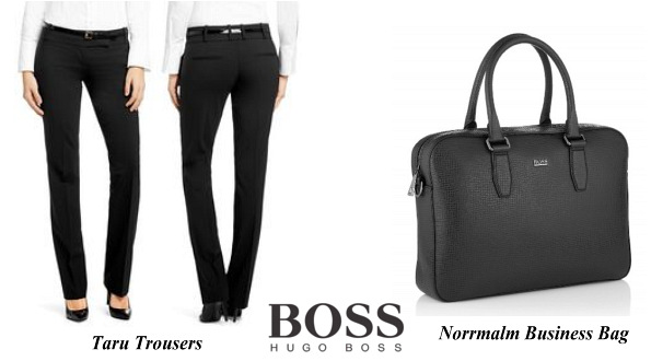 Queen Letizia's HUGO BOSS Taru Trousers and Norrmalm Business Bag