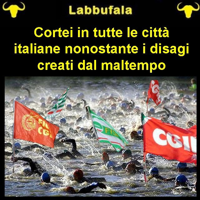 sciopero, alluvione, satira