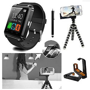 U8 Bluetooth Smart Watch Wristwatch Phone Mate + Mini Flexible Tripod Holder + Adjustable Bracket + Touch Pen for Android Smartphone Samsung Galaxy s2/s3/s4/s5 Note 2/Note 3 HTC ONE M7 Sony Blackberry LG G2 - Only Basic function for iOS iPhone 6/5S/5C/5/4S/4 (Black)