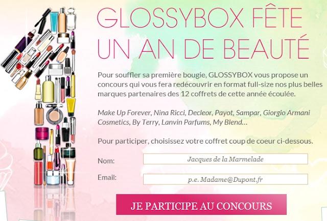 Glossybox fête un an de beauté: jeu concours bon plan glossybox juin 2012