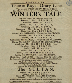 Original playbill for The Winter's Tale starring Sarah Siddons